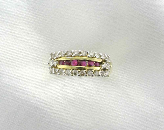 Ruby and Diamond Band Ring; Ruby and Diamond Stacking Ring; Estate Ring 14 Karat Yellow Gold Ruby and Diamond Ring; Straight Line Ring