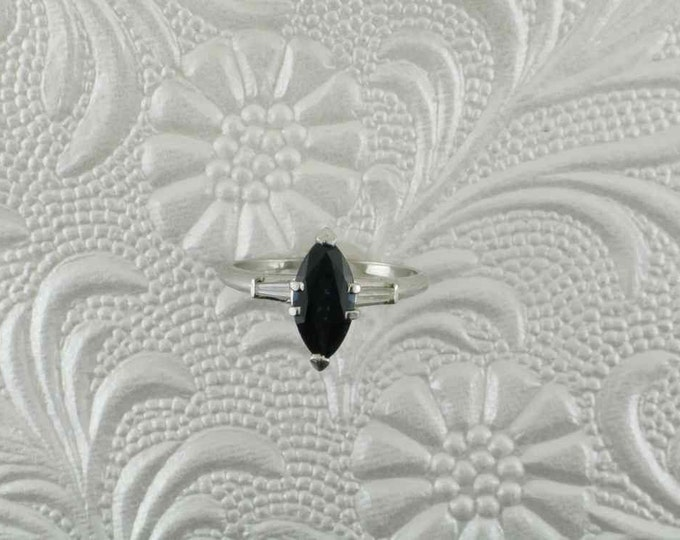 Platinum Blue Sapphire and Diamond Ring, Platinum Ring, Alternative Engagement Ring, September Birthstone, Marquise Cut Sapphire
