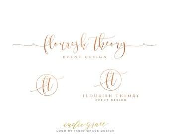 Rose Gold Foil Signature & Initials Logo design and Logo Stamp - Calligraphy Logo - Custom PreDesigned for photography Logo or boutique logo