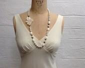Vintage Ceramic Necklace - Cream Floral Beads
