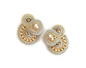Soutache earrings - Clip on earrings - Post earrings - birthday gift for wife gift for coworker birtday gift for sister gift for girlfriend