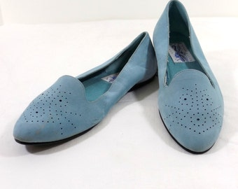 PERRY ELLIS Light Blue Suede Leather Flats Size 7B 7M