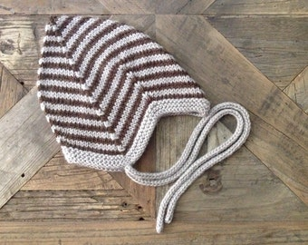 Striped Norwegian-Style Baby Hat/Bonnet with I-Cord Ties///You Choose the Size & Color///MADE TO ORDER