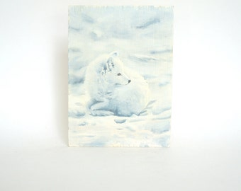 Incredibly Realistic Handpainted Snow Fox on Wood Block