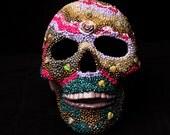 Beaded Sugar Skull Lamp, Day of the Dead Skull, Gothic Skull, Mosaic Sugar Skull, Home Decor, Halloween Skull