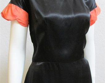1940's Black Satin Blouse with Coral Scalloped Sleeves - 31 inch Waist
