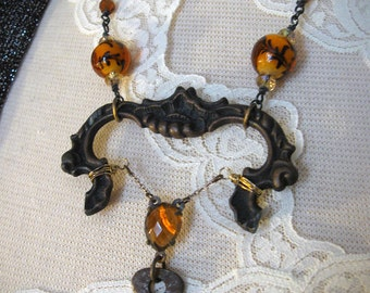 Steampunk Vintage Assemblage Necklace with Antique Drawer Pull, Skeleton Key & More