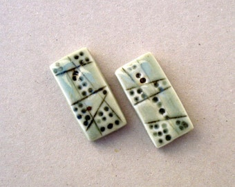 Porcelain Pendants,  Pale Green  Porcelain , Rectangular Beads ,  Necklace Components