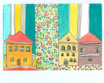 """Wall Art ,"""" Houses With Flowers And A Teal Striped Sky """"   , Kid's Room Art  , Watercolor Painting"""