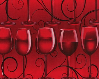 """Wine Glasses On Red - Cotton Fabric - Last Piece 31"""""""