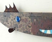 William SHAD-ner #10, Reclaimed wood and rusty steel fish art, salvaged original chippy painted surface, folk art