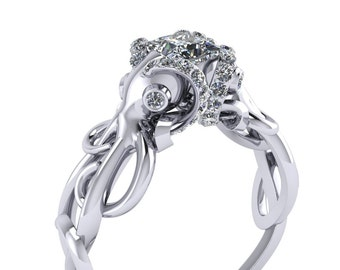Double Octopus Diamond Engagement Ring Half Carat