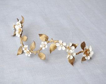 Gold Bridal Headpiece, Flower Vine Headpiece with Enamel Flowers, Brass Vine Headband, Wedding Headpiece, Vintage Bridal Headband #306HP