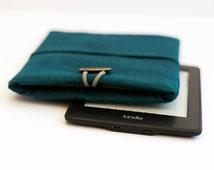 Teal blue kindle case/ blue linen ereader cover/ Linen Kindle fire HD 8.9 case/ Kindle Paperwhite cover/ padded tablet caser  0344