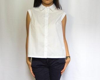 ALEXI   White sleeveless dress shirt