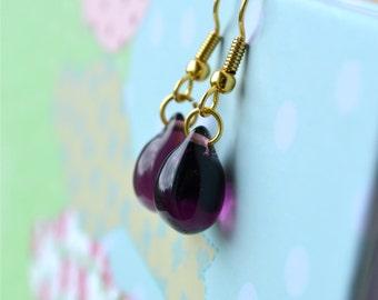 Purple Earrings, Tear Drop Earrings, Purple Dangle Earrings, Mulberry Glass Bead Earrings, Purple & Gold Earrings, Purple Jewelry UK Sellers