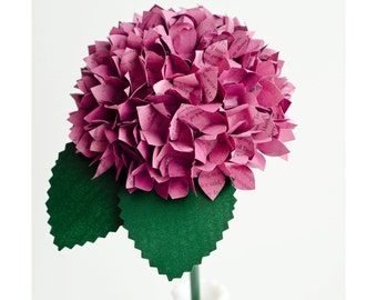 Hydrangea made from Books or Hymnal Music Paper in Your Choice of Color - Harry Potter, etc - Bridesmaid Bouquet, Birthdays, Home Decor