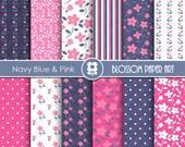 Blue Navy Digital Paper, Pink Digital Papers, Floral Digital Scrapbooking Pack - Little Flowers - INSTANT DOWNLOAD - 1948