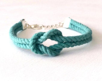 Adjustable Nautical Twisted Rope Knot Bracelet Teal Tie The Knot Bracelet