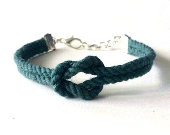 Adjustable Nautical Twisted Rope Knot Bracelet Blue Green Tie The Knot Bracelet