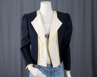 Blue Jacket cream cropped yellow trim hipster women size M medium US12 UK16