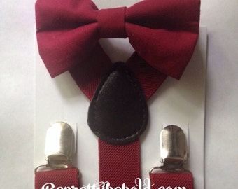 Burgundy Bow Tie Suspenders Set Rustic Wedding Burgandy Ring Bearer Outfit  Groomsmen Bow ties Baby Toddler  Boy Necktie Braces Ruby Red Men