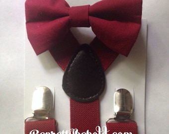 Deep Red Bow Tie Suspender Set Rustic Wedding Burgundy Ring Bearer Outfit  Groomsmen Bow ties Baby Toddler  Boy Necktie Braces Ruby Red Mens