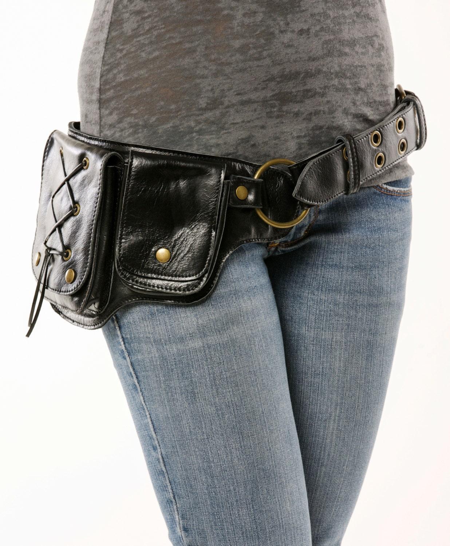 hip pack lace design leather utility belt black great