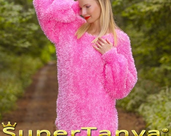 Made to order fuzzy hand knitted eyelash yarn sweater in pink handmade decofur summer top by SuperTanya
