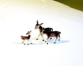 Mini Donkey Family Figurine Set - Vintage Bone China from Japan