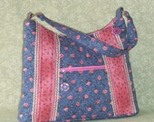 Quilted Blue and Pink Floral Zipper Purse with Vintage Trim