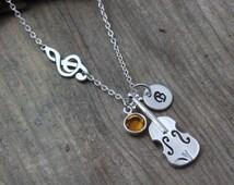 Sterling silver violin Necklace, Treble Clef Violin Necklace Personalized initial, Birthstone, Musical Note Necklace, MonyArt original Desig