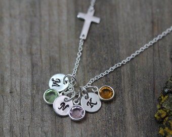 Sterling Sideways Cross Necklace Or choose GoldSideways Cross,  Family Birthstone and/Or initials, Grandma gift, Popular Mother gift