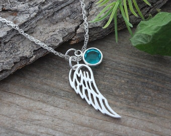 Angel Wing Necklace, Sterling Silver Angel Wing on sterling silver chain. choose custom charms. Silver Wing Necklace. Wing Jewelry