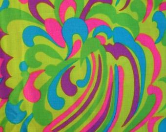Rare Stehli Fabric, Vintage Fabric, Stehli Silk Corp, 1940s or 1950s, Psychedelic, Mod, Designer Fabric