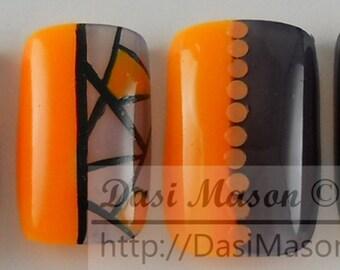 Neon Orange and Black Geometric Instant Acrylic Nail Set