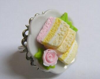 Food Jewelry Angel Food Cake Ring, Miniature Food Jewelry, Mini food Ring, Cake Ring, Cake Jewelry, Gift for Baker, Angel Cake Ring, Kawaii