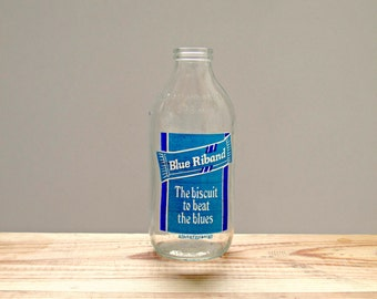 Vintage 1980's Milk Bottle Advertising Blue Riband Biscuit Bar
