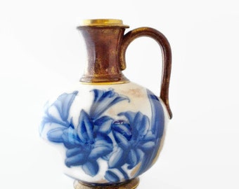 "Adderley Flow Blue ""Lily"" Ewer Pitcher, Blue Flow, Vintage Pitcher"