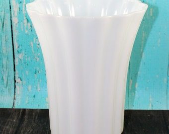 TALL & Wide Milk Glass Vase, Centerpiece, Scalloped, Collection,  Wedding, Centerpiece, Shabby Chic, Rustic,shower, Mid Century, bud vases