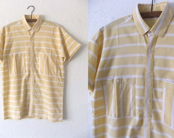 90s Pastel Yellow Striped Beach Style Button Up - Preppy Style Minimal Short Sleeve Oxford Shirt - Mens Small