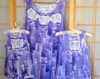 Sun Dress - Hawaii Beach Dress - Hand Painted Dress - Plus Size Dress - Cotton Cover Up - A Line Dress - Butterfly Dress - Knee length dress