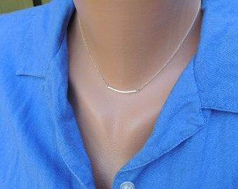 Curved Bar Necklace - Elegant and Minimalist, Your Choice of 14k Yellow, Rose, or White Gold, Gold Fill or Silver & fine chain, Handmade *