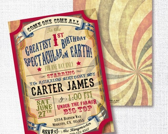 CIRCUS CARNIVAL VINTAGE style birthday invitation circus birthday party invitation circus poster style invitation 1st first twins boy girl