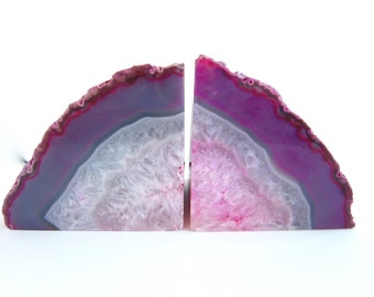 Pink Agate Bookends - Medium pink agate geode bookends