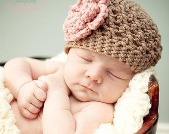 Baby girl hat, Crochet Baby Hat, Brown and Pink, Baby Hat