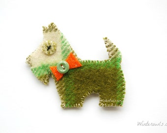 Scottish Terrier Pin, Eco Friendly Jewelry, Scotty Dog Brooch, Animal Brooches