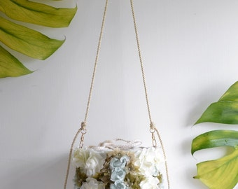 Bella flower basket bag - ON SALE 15% off white floral small handbag. Ready to ship