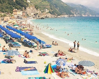 At the Beach, Cinque Terre Wall Art Print, Monterosso, Italy Photo