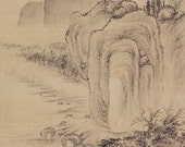 Antique Japanese Fine Art Wall Hanging Scroll Painting Inkwash Landscape Autumn – 1507021